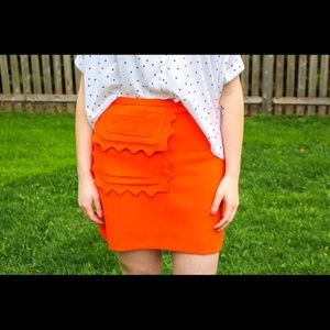 Victoria Beckham Orange Skirt NWT Size L